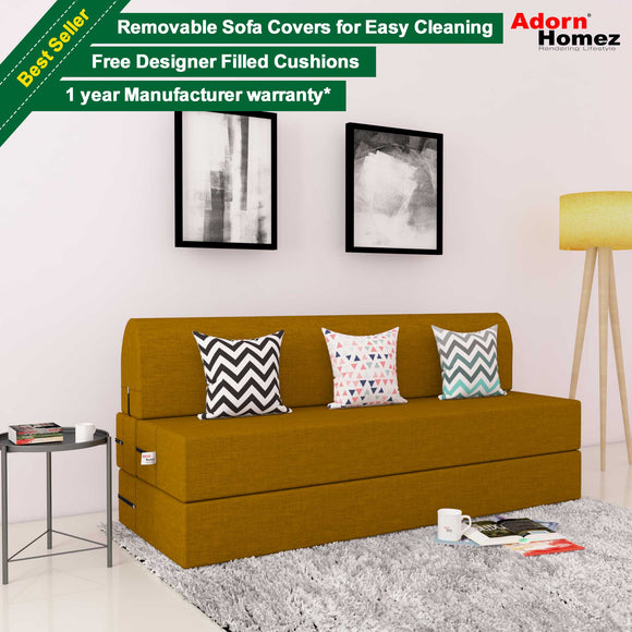 DOLPHIN ZEAL 3 SEATER SOFA CUM BED - BURNISH with Free micro fiber Designer cushions