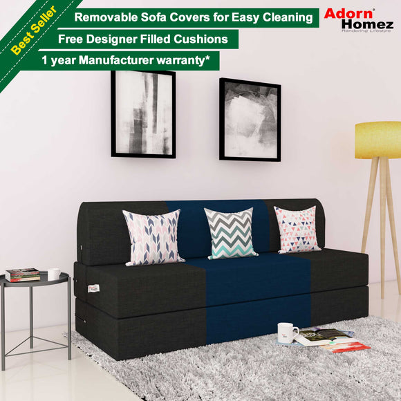 Dolphin Zeal 3 Seater Sofa Bed-Black & N.Blue with Free Designer filled cushions
