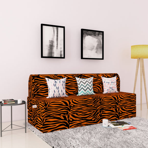 DOLPHIN ZEAL 3 SEATER SOFA CUM BED - GOLDEN ZEBRA with Free micro fiber Designer cushions