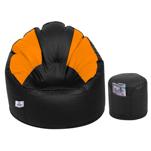 DOLPHIN XXL Muda Chair Combo with Footrest-Filled (With Beans) - Dual Multi Colour
