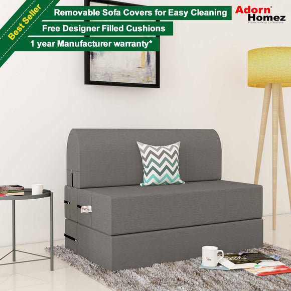 Dolphin Zeal 1 Seater Sofa Bed-Grey- 2.5ft x 6ft with Free micro fiber Designer cushions