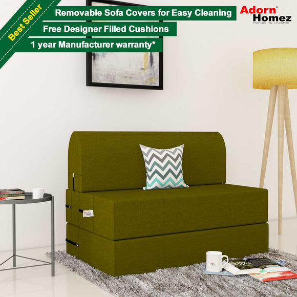 Dolphin Zeal 1 Seater Sofa Bed-Green- 2.5ft x 6ft with Free Designer filled cushions