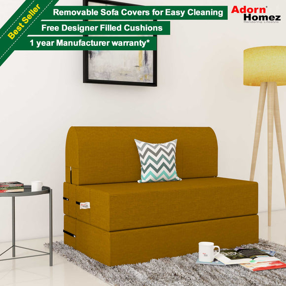 Dolphin Zeal 1 Seater Sofa Bed- Burnish - 2.5ft x 6ft with Free micro fiber Designer cushions