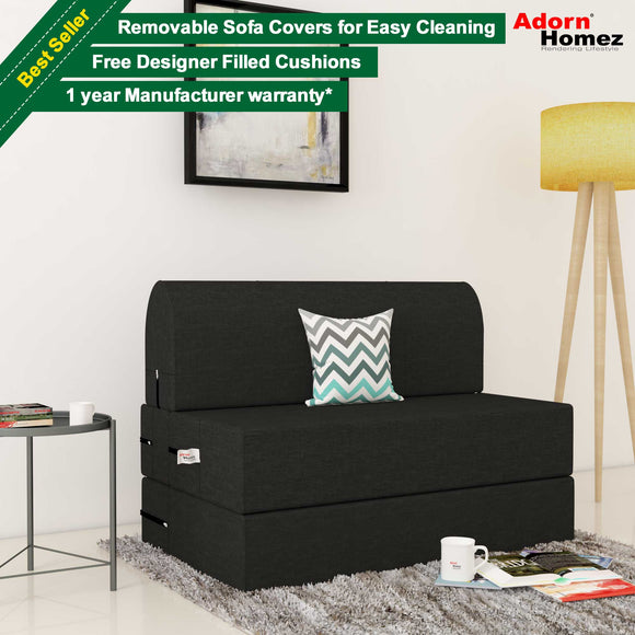 Dolphin Zeal 1 Seater Sofa Bed- Black - 2.5ft x 6ft with Free micro fiber Designer cushions