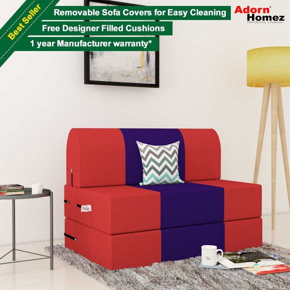 Dolphin Zeal 1 Seater Sofa Bed-Red & Purple- 3ft x 6ft with Free micro fiber Designer cushions