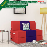 Dolphin Zeal Single Seater Sofa Bed-Red & Purple- 3ft x 6ft with Free Designer filled cushions