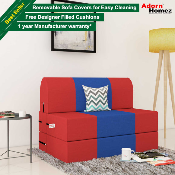 Dolphin Zeal 1 Seater Sofa Bed-Red & R.Blue- 2.5ft x 6ft with Free micro fiber Designer cushions