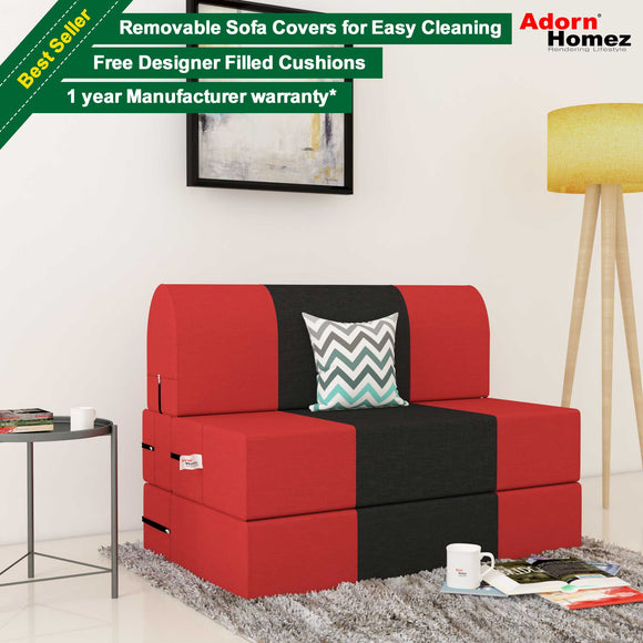Dolphin Zeal 1 Seater Sofa Bed-Red & Black - 3ft x 6ft with Free micro fiber Designer cushions