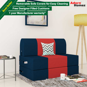 Dolphin Zeal 1 Seater Sofa Bed-N.Blue & Red- 2.5ft x 6ft with Free micro fiber Designer cushions