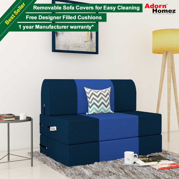 Dolphin Zeal 1 Seater Sofa Bed-N.Blue & R.Blue- 2.5ft x 6ft with Free micro fiber Designer cushions