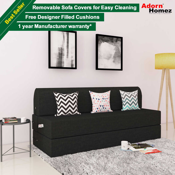 DOLPHIN ZEAL 3 SEATER SOFA CUM BED-Black with Free micro fiber Designer cushions