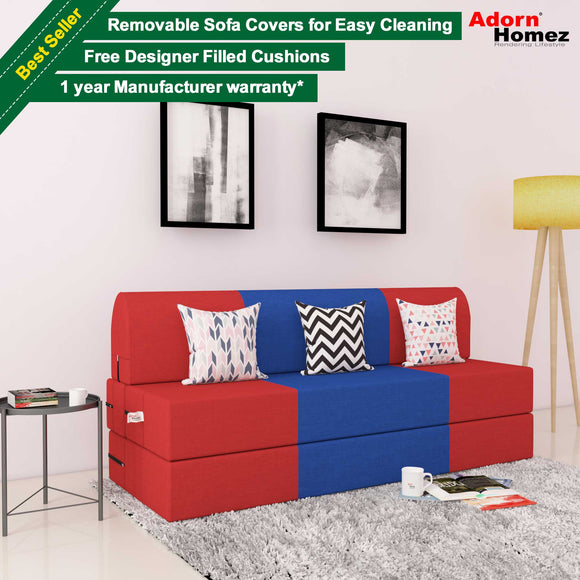 DOLPHIN ZEAL 3 SEATER SOFA CUM BED-Red & R.Blue with Free micro fiber Designer cushions