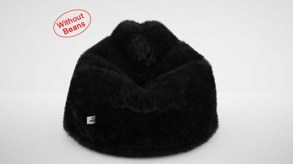 DOLPHIN JUMBO FUR BEAN BAG-BLACK-ARTIFICIAL(COVER)