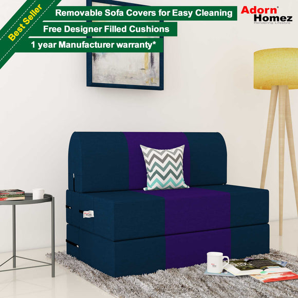 Dolphin Zeal 1 Seater Sofa Bed-N.Blue & Purple- 3ft x 6ft with Free micro fiber Designer cushions