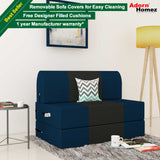 Dolphin Zeal 1 Seater Sofa Bed-N.Blue & Black- 2.5ft x 6ft with Free Designer filled cushions