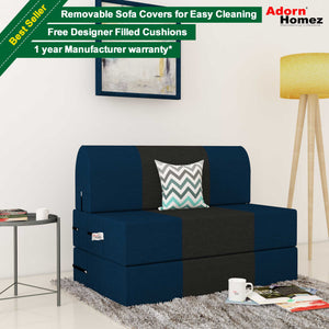 Dolphin Zeal 1 Seater Sofa Bed-N.Blue & Black- 3ft x 6ft with Free micro fiber Designer cushions