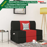 Dolphin Zeal 1 Seater Sofa Bed-Black & Red- 2.5ft x 6ft with Free Designer filled cushions