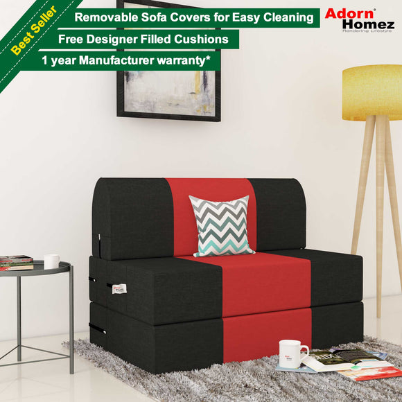 Dolphin Zeal 1 Seater  Sofa Bed-Black & Red- 3ft x 6ft with Free micro fiber Designer cushions
