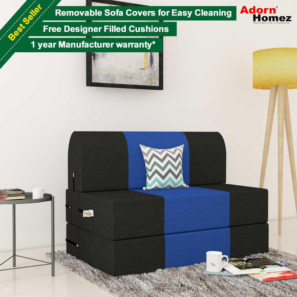 Dolphin Zeal 1 Seater Sofa Bed-Black & R.Blue- 3ft x 6ft with Free micro fiber Designer cushions