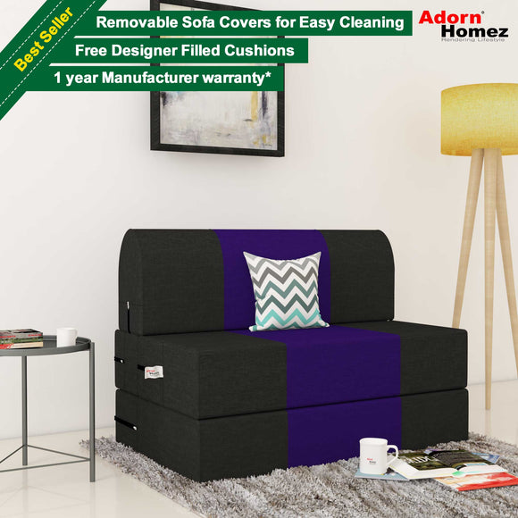 Dolphin Zeal 1 Seater Sofa Bed-Black & Purple- 2.5ft x 6ft with Free micro fiber Designer cushions