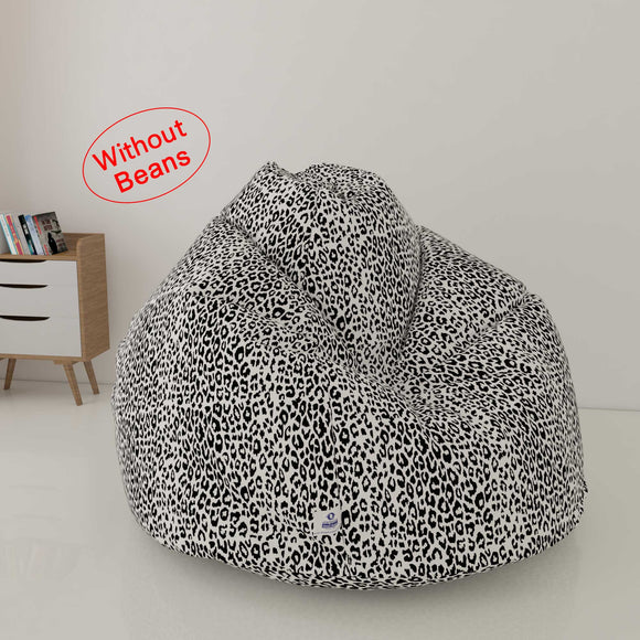 DOLPHIN XXL FABRIC PRINTED BEAN BAG-CHEETAH WHITE - WASHABLE (COVER)