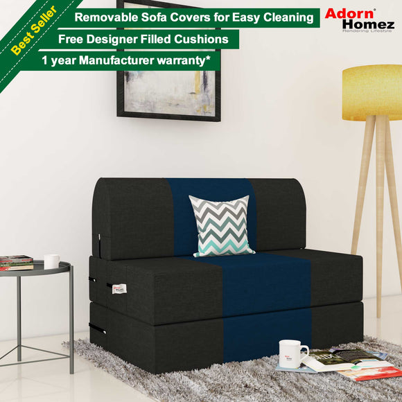 Dolphin Zeal 1 Seater Sofa Bed-Black & N.Blue- 2.5ft x 6ft with Free micro fiber Designer cushions