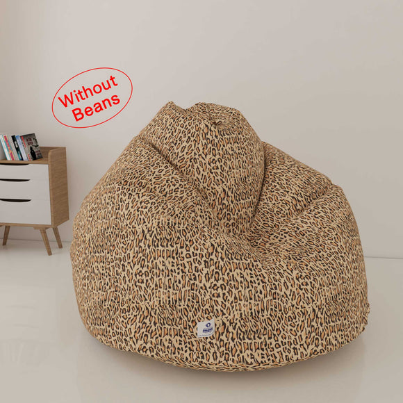 DOLPHIN XXXL PRINTED FABRIC BEAN BAG-CHEETAH BROWN - WASHABLE  (COVER)
