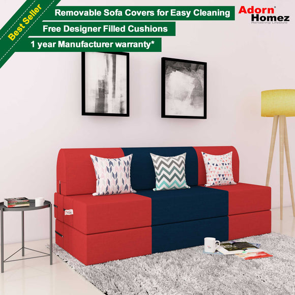 DOLPHIN ZEAL 3 SEATER SOFA CUM BED-Red & Purple with Free micro fiber Designer cushions