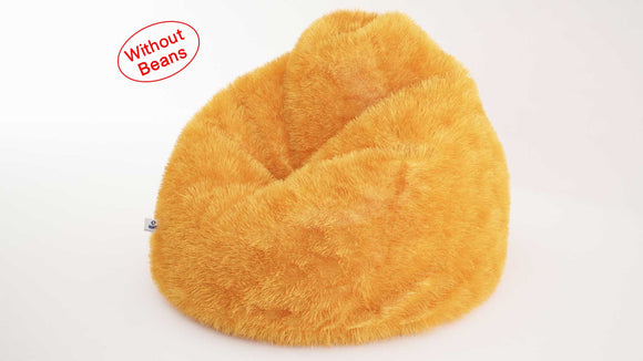 DOLPHIN XXL FUR BEAN BAG-YELLOW-ARTIFICIAL (COVER)