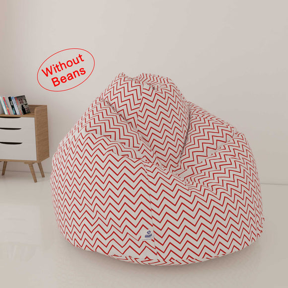 DOLPHIN XL FABRIC PRINTED BEAN BAG-RED & WHITE - WASHABLE (COVER)