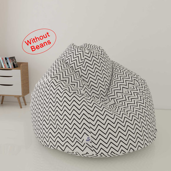 DOLPHIN XXL FABRIC PRINTED BEAN BAG-WHITE & BLACK- WASHABLE (COVER)