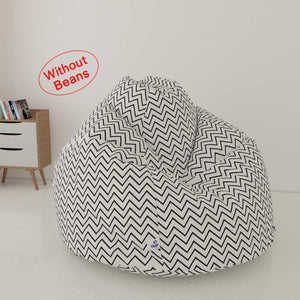 DOLPHIN XL FABRIC PRINTED BEAN BAG-WHITE & BLACK - WASHABLE (COVER)