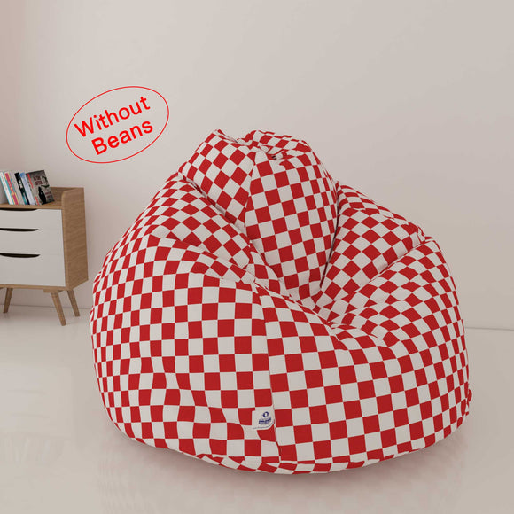 DOLPHIN XL FABRIC PRINTED BEAN BAG- RED & WHITE - WASHABLE (COVER)