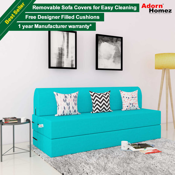 DOLPHIN 3 SEATER ZEAL SOFA BED - Turquoise with Free Designer filled cushions