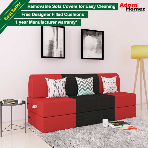 DOLPHIN ZEAL 3 SEATER SOFA CUM BED-Red & Black with Free micro fiber Designer cushions