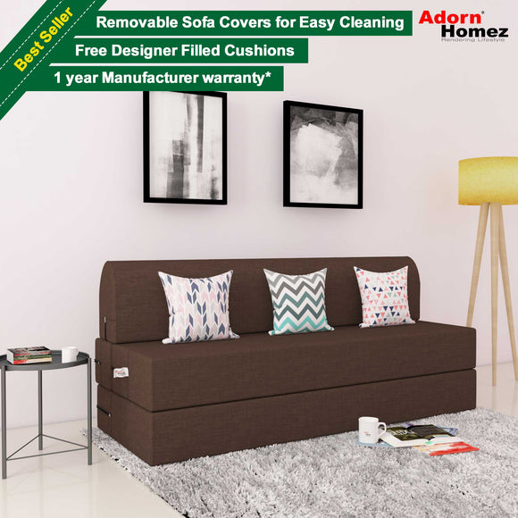 DOLPHIN ZEAL 3 SEATER SOFA CUM BED-TAN with Free micro fiber Designer cushions