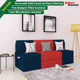 Dolphin Zeal 3 Seater Sofa Bed-N.Blue & Red with Free Designer filled cushions