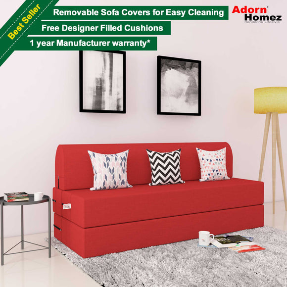 DOLPHIN ZEAL 3 SEATER SOFA CUM BED - Red with Free micro fiber Designer cushions