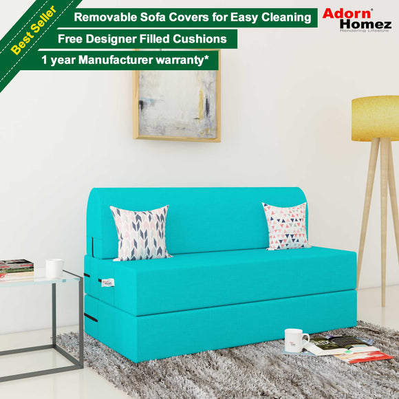 Dolphin Zeal 2 Seater Sofa Bed-Turquoise- 4ft x 6ft with Free micro fiber Designer cushions
