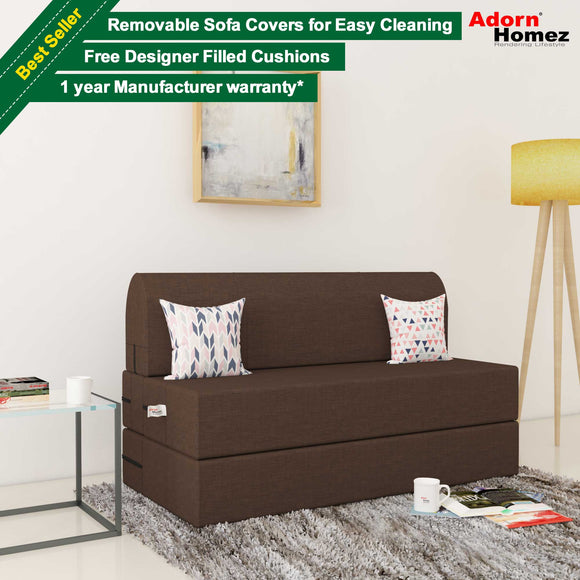 Dolphin Zeal 2 Seater Sofa Bed-Tan- 4ft x 6ft with Free micro fiber Designer cushions