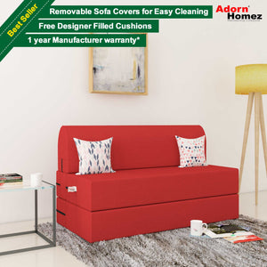 Dolphin Zeal 2 Seater Sofa Bed-Red- 4ft x 6ft with Free micro fiber Designer cushions
