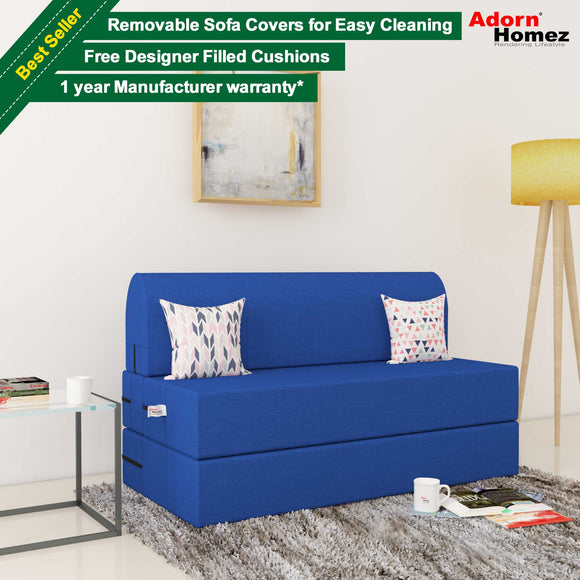 Dolphin Zeal 2 Seater Sofa Bed-Royal Blue- 4ft x 6ft with Free micro fiber Designer cushions