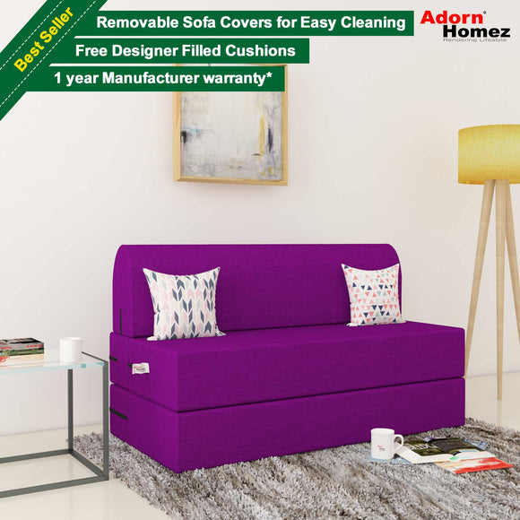 Dolphin Zeal 2 Seater Sofa Bed-Purple- 4ft x 6ft with Free micro fiber Designer cushions