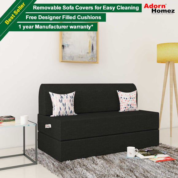 Dolphin Zeal 2 Seater Sofa Bed-Black- 4ft x 6ft with Free micro fiber Designer cushions