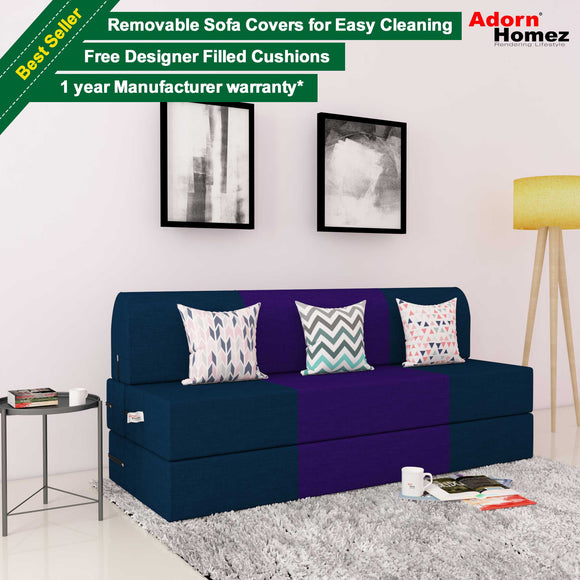 DOLPHIN ZEAL 3 SEATER SOFA CUM BED-N.Blue & Purple with Free micro fiber Designer cushions