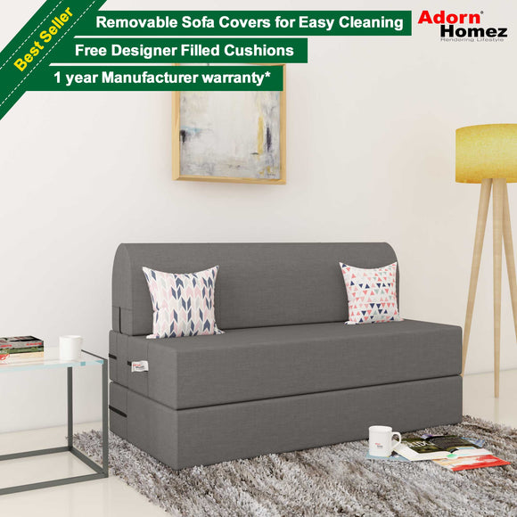 Dolphin Zeal 2 Seater Sofa Bed-Grey- 4ft x 6ft with Free micro fiber Designer cushions