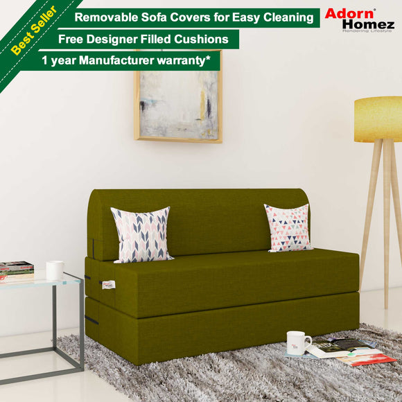Dolphin Zeal 2 Seater Sofa Bed-Green- 4ft x 6ft with Free micro fiber Designer cushions