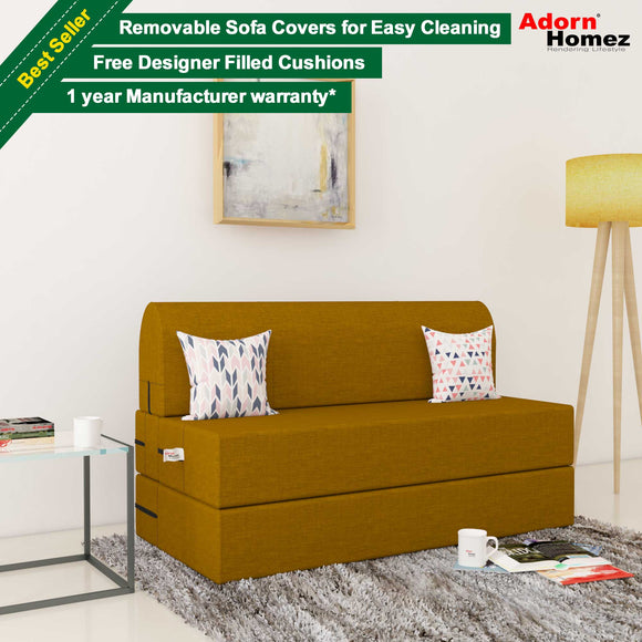 Dolphin Zeal 2 Seater Sofa Bed-Burnish- 4ft x 6ft with Free micro fiber Designer cushions