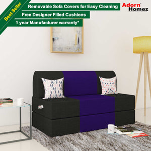 Dolphin Zeal 2 Seater Sofa Bed-Black & Purple- 4ft x 6ft with Free micro fiber Designer cushions
