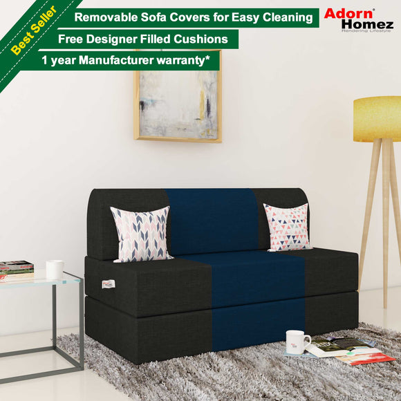 Dolphin Zeal 2 Seater Sofa Bed-Black & N.Blue- 4ft x 6ft with Free micro fiber Designer cushions
